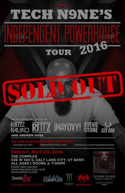 Tech N9ne Sold Out Friday May 20th 2016 At The Complex Salt Lake City Utah Events